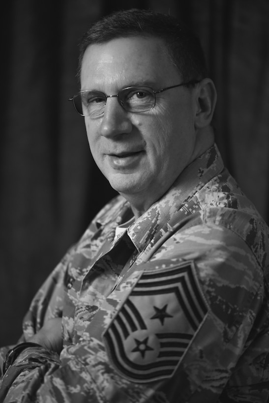Command Chief Master Sgt. Thomas A. Jones, the command chief of the 179th Airlift Wing, Mansfield, Ohio, poses for a portrait Nov. 2, 2016. Jones has been selected as the new state command chief of Ohio. (U.S. Air National Guard photo by Airman Megan Shepherd/Released)