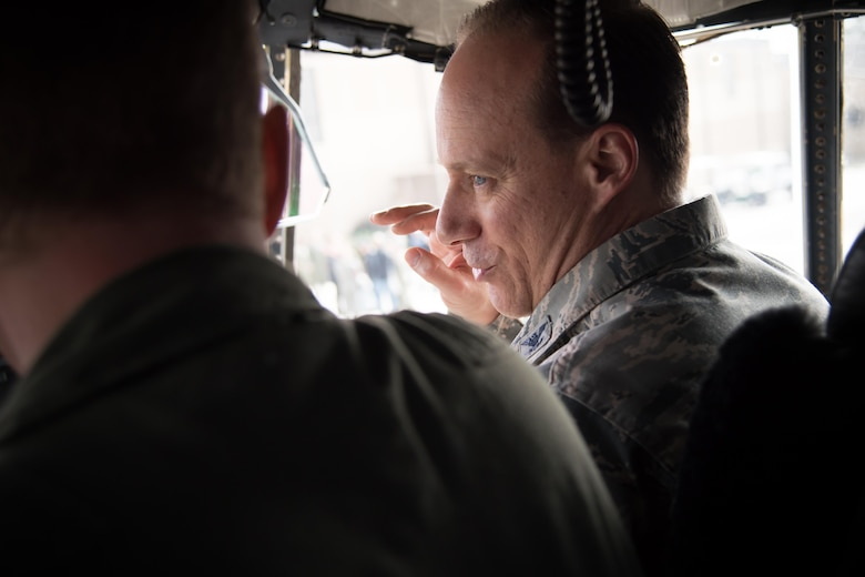Col. Todd Weyerstrass, 2nd Air Force vice commander, sits in the cockpit of a WC-130J Super Hercules aircraft during a 403rd Wing immersion tour Feb. 3 at Keesler Air Force Base, Mississippi. (U.S. Air Force photo/Staff Sgt. Heather Heiney)