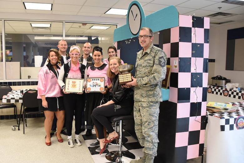 The team from the 179th Air Wing Headquarters wins the 2016 'Chili Bowl' on Nov. 16, 2016, during the 179th Airlift Wing's annual chili cook-off in Mansfield, Ohio. The event helps promote the Combined Federal Campaign. The CFC is the program federal employees use to donate to an umbrella of approved charitable organizations. (U.S. Air National Guard photo by Airman Megan Shepherd\Released)