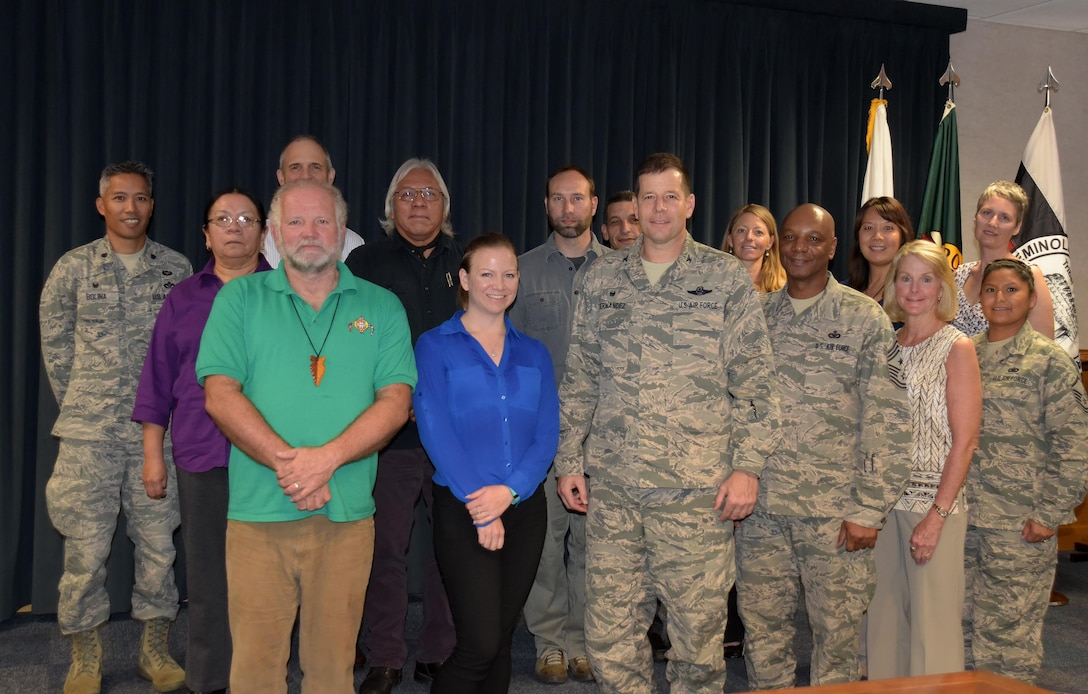 U.S. Air Force Col. Michael Hernandez, 325th Fighter Wing commander, stands with his staff and representatives from Native American tribes during the first-ever Tyndall AFB tribal historic preservation meeting Jan. 18, 2017. Base leaders discussed a number of issues with the tribal representatives, improving relations and developing plans to improve coordination and consultations in the future. (U.S. Air Force photo by 2nd Lt. Nathanael Callon/Released)