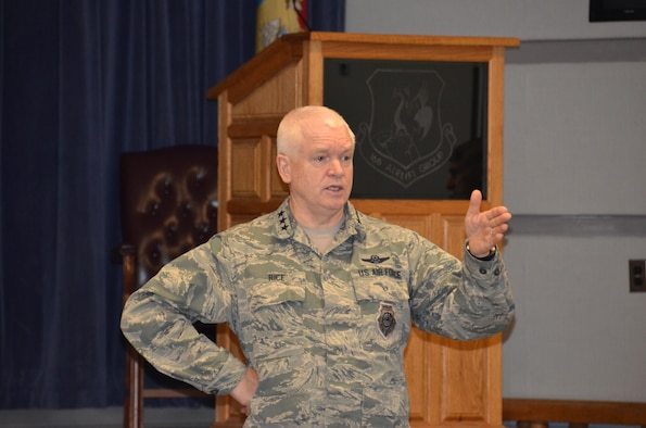 NEW CASTLE AIR NATIONAL GUARD BASE, Del.- Lt. Gen. L. Scott Rice, Director, Air National Guard, speaks to Chief Master Sergeants and enlisted senior leadership about the wave of the future for the Air National Guard on Jan., 8, 2017. Gen. Rice, and Chief Master Sgt. Ronald C. Anderson, Command Chief Master Sergeant, Air National Guard visited the Delaware Air National Guard Base on Jan. 7-8, 2016 during the January Regularly Scheduled Drill weekend. The distinguished guests met with members of multiple organizations on base and leadership. (U.S. Air National Guard photo by Tech. Sgt. Gwendolyn Blakley/ Released.