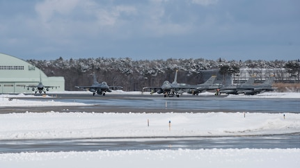 Three F-16 Fighting Falcons taxi on the runway at Misawa Air Base, Feb. 7, 2017.  Airmen from the 14th Fighter Squadron departed to Andersen Air Force Base, Guam, as part of exercise COPE NORTH 2017. The annual exercise, which originated here in 1978, serves as a keystone event promoting stability and security throughout the Indo-Asia-Pacific region by enabling regional forces to hone vital readiness skills critical to maintaining regional stability.