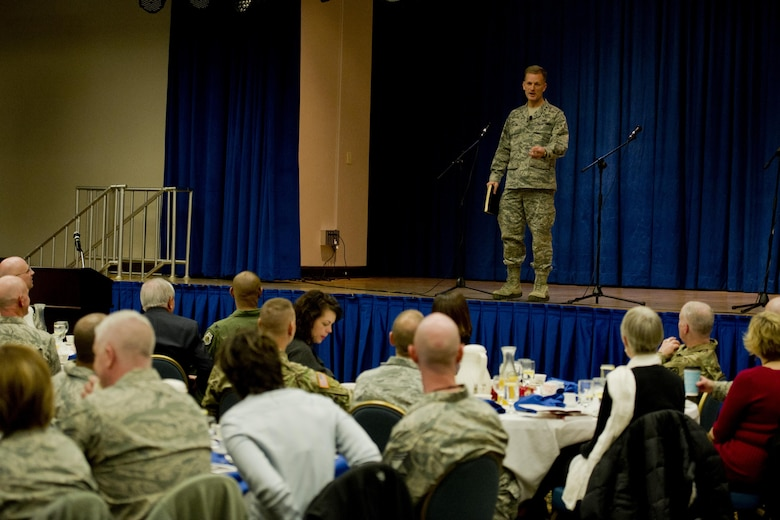 "U.S. Air Force Chap. (Maj. Gen.) Dondi Costin, Air Force Chief of Chaplains, speaks during the Osan National Prayer Breakfast 2017 at Osan Air Base, Republic of Korea, Feb. 8, 2017. Costin was the guest speaker for the event and delivered his ""Faith Works"" presentation. (U.S. Air Force photo by Staff Sgt. Jonathan Steffen)"