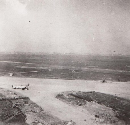 The 374th Fighter Squadron area at Chièvres air field in Belgium while in March 1945. The 374th was briefly assigned to the base following about a year of operations at bases in England.