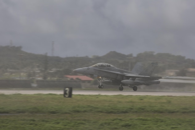 An F/A-18D Hornet with Marine All-Weather Fighter Attack Squadron (VMFA) – 225 begins its ascent during exercise Cope North at Andersen Air Force Base, Guam, Feb. 9, 2017. The Marines loaded live air intercept missile – 120 advanced medium-range air-to-air missiles (AIM-120 AMRAAM) to F/A-18D Hornets to be fired at decoys down range. (U.S. Marine Corps photos by Cpl. Nathan Wicks)