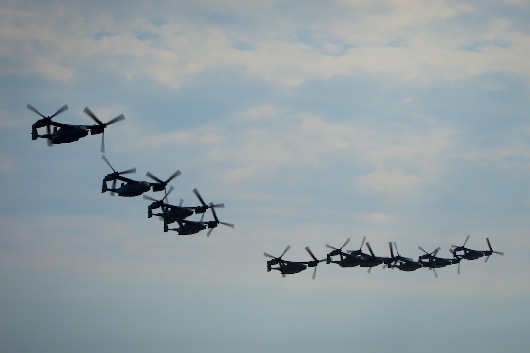CV-22 Osprey assigned to the 8th Special Operations Squadron at Hurlburt Field, Fla., and the 20th SOS at Cannon Air Force Base, N.M., fly in formation over Hurlburt Field Feb. 3, 2017. This training mission was the first time in Air Force history that 10 CV-22s flew in formation simultaneously. (U.S. Air Force photo/Airman 1st Class Joseph Pick)