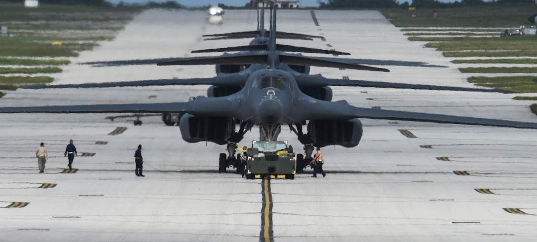 Four B-1B Lancers assigned to the 9th Expeditionary Bomb Squadron, deployed from Dyess Air Force Base, Texas, arrive Feb. 6, 2017, at Andersen AFB, Guam. The 9th EBS is taking over U.S. Pacific Command's continuous bomber presence operations from the 34th EBS, assigned to Ellsworth AFB, S.D. The B-1B's speed and superior handling characteristics allow it to seamlessly integrate in mixed force packages. While deployed at Guam the B-1Bs will continue conducting flight operations where international law permit. (U.S. Air Force photo/Tech. Sgt. Richard P. Ebensberger)