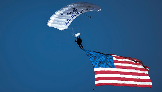 "The Academy Sport Parachuting Club officially becomes known as ""The Wings of Blue,"" Jan. 29, 1976. (U.S. Air Force photo)"