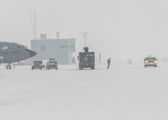 Members of the Maine Air National Guard perform outdoor duties in some of the harshest weather of the year at 101st Air Refueling Wing, Bangor, Maine, Feb. 5, 2015.  The northeast is having a record breaking season of blizzards and snow accumulation. (Air National Guard Photo by Master Sgt. Jon Duplain/Release)