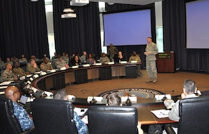 DLA Director Air Force Lt. Gen. Andy Busch addresses Air Force Individual Mobilization Augmentees and the DLA Joint Reserve Force staff at the IMA All-Call event Feb. 3, 2017.