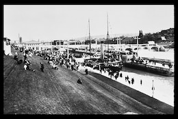 Opening day, July 4, 1917, of the Government Locks in Seattle. Later renamed the Hiram M. Chittenden Locks, the U.S. Army Corps of Engineers are kicking off the Centennial commemoration with songwriting performances and historical displays President's Day weekend, 10 a.m. to 3 p.m., February 18 thorugh 20.