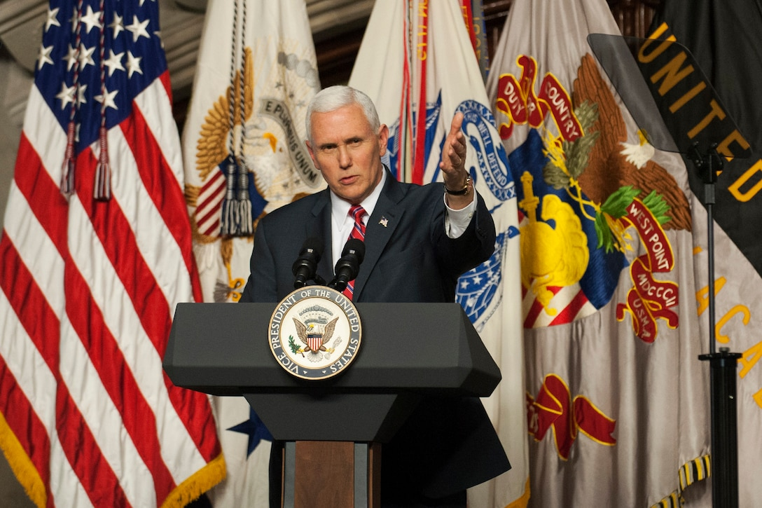 Vice President Mike Pence addresses the Corps of Cadets.