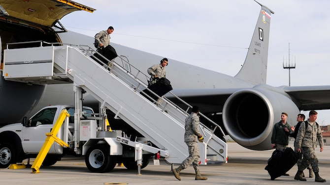 Airmen from the 31st Fighter Wing return to Aviano Air Base, Italy, from Camp Lemonnier, Djibouti, Feb. 9, 2017, after a seven month deployment. In July 2016, the U.S. Air Force forward deployed the 31st FW F-16s, 100th Air Refueling Wing KC-135 Stratotankers from Royal Air Force Mildenhall, United Kingdom, Airmen and equipment to Camp Lemonnier as a precautionary measure to protect Americans and American interests based on violent unrest and the possibility of threats in South Sudan. (U.S. Air Force photo by Staff Sgt. Austin Harvill)
