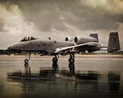 An A-10C Warthog pilot from the 163rd Fighter Squadron at the 122nd Fighter Wing in Fort Wayne, Ind., taxis across the flight line after completing a training mission, July 14, 2015, at the Indiana Air National Guard Base, Fort Wayne, Ind. (Air National Guard photo by Staff Sgt. William Hopper)