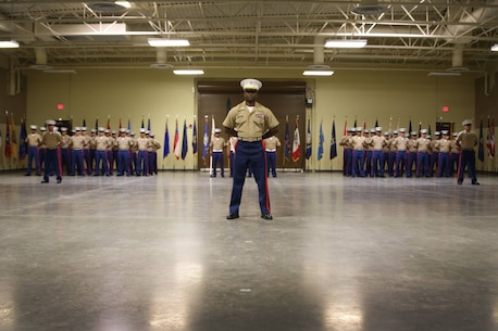Marines with Recruiting Station Riverside stand in formation during the Activation Ceremony for RS Riverside Sept. 30.