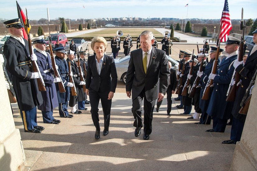 Defense Secretary Jim Mattis welcomes German Defense Minister Ursula von der Leyen with an enhanced honor cordon as she arrives at the Pentagon, Feb. 10, 2017. DoD photo by Air Force Staff Sgt. Jette Carr