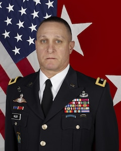 U.S. ARNG Major General Harry E. Miller, Jr. is the Deputy Director for Strategic Integration and the Mobilization Assistant to the Director, Defense Intelligence Agency poses for a command photo in the U.S. Army Portrait studio at the Pentagon in Washington, D.C.