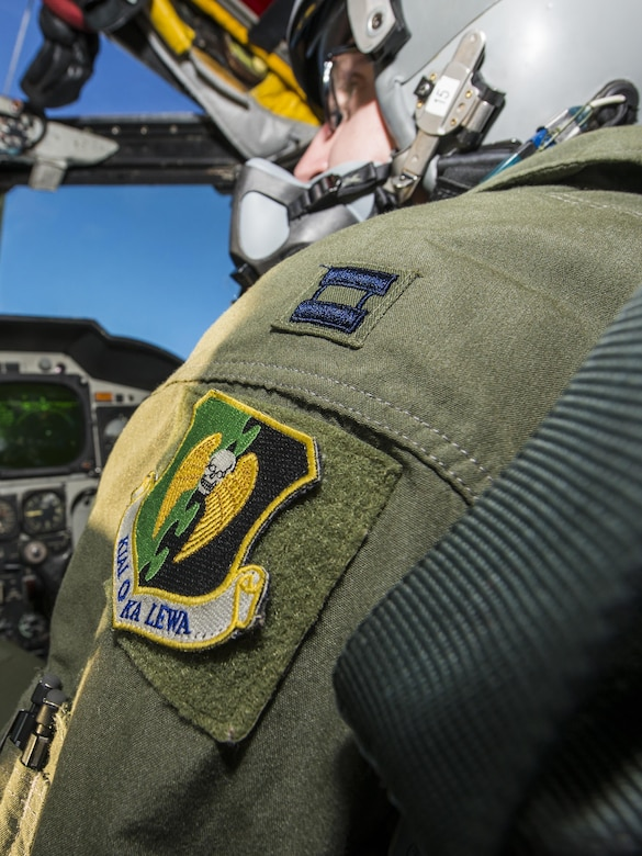 "A 5th Bomb Wing patch ornaments the shoulder of Capt. Jonathan Gabriel, 23rd Bomb Squadron aircraft commander, Jan. 31, 2017.  The patch reads, ""Kiai O Ka Lewa,"" translating to, ""Guardians of the Upper Realm."" (U.S. Air Force photo/Senior Airman J.T. Armstrong)"