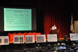 Aleksander Petersen, project planner, U.S. Army Corps of Engineers, New York District, gives a presentation on the Draft Intergated Feasibility Report and Environmental Impact Statemnet for the Rahway River Basin Flood Risk Management Study in the Township of Cranford, N.J., January 12, 2017.
