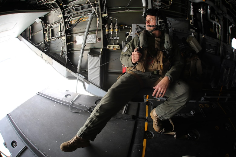 Sgt. Brett Hankins observes the skies out the back of an MV-22 Osprey as it flies near Marine Corps Air Station New River, N.C., Feb. 9, 2017. Many operations are intensive on Osprey pilots such as aerial refueling, but some flight operations such as external lifts require the pilots to rely on the crew chief. This makes them an essential part to mission accomplishment. Hankins is a crew chief with Marine Medium Tiltrotor Squadron 263, Marine Aircraft Group 26, 2nd Marine Aircraft Wing. (U.S. Marine Corps photo by Cpl. Mackenzie Gibson/Released)