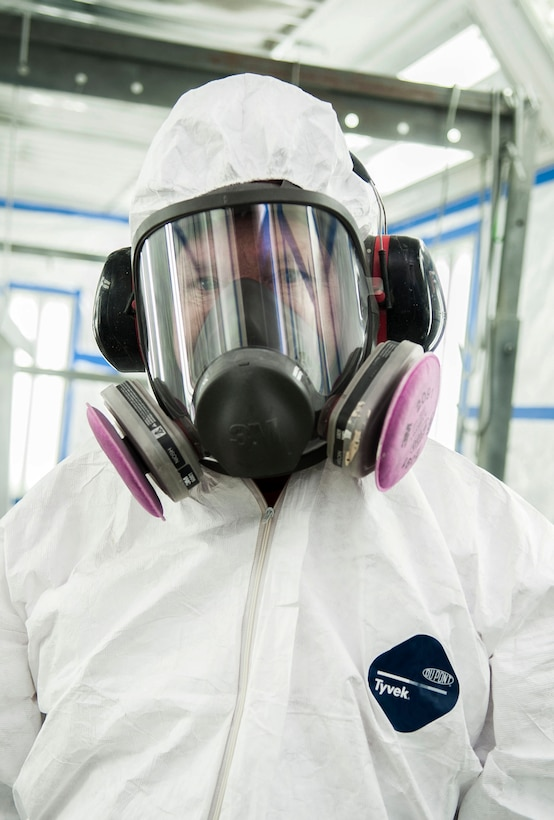 Gerald Ferdon, 91st Missile Maintenance Squadron corrosion control specialist, stands in a spray booth at Minot Air Force Base, N.D., Feb. 2, 2017. The corrosion control team uses the spray booth to apply corrosion-resistant coatings onto various equipment. (U.S. Air Force photo/Airman 1st Class Jonathan McElderry)