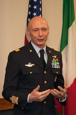 Lt. Gen. Enzo Vecciarelli, Chief of Staff of the Italian Air Force, speaks to attendees of the International Honor Roll Induction Ceremony during his inauguration into the IHR program on Maxwell Air Force Base, Ala., Feb. 10, 2017. More than 400 officers from 97 countries have been inducted as of 2017.  (US Air Force photo by Bud Hancock)