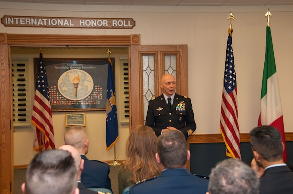 Lt. Gen. Enzo Vecciarelli, Chief of Staff of the Italian Air Force, speaks to attendees of the International Honor Roll Induction Ceremony during his inauguration into the IHR program on Maxwell Air Force Base, Ala., Feb. 10, 2017. Vecciarelli is one of more than 400 officers from 97 countries who have been inducted as of 2017. (US Air Force photo by Bud Hancock)
