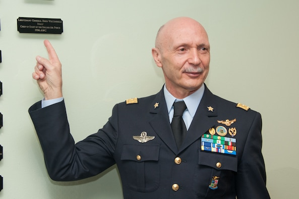 Lt. Gen. Enzo Vecciarelli, Chief of Staff of the Italian Air Force, points to his name on the International Officer Honor Roll wall on Maxwell Air Force Base, Ala., Feb. 10, 2017. Vecciarelli is one of more than 400 officers from 97 countries who have been inducted as of 2017. (US Air Force photo by Bud Hancock)