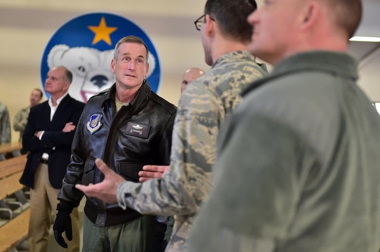 U.S. Air Force Gen. Terrence J. O'Shaughnessy, Pacific Air Forces commander, listens to a joint mission briefing about how Airmen and Soldiers work together at Joint Base Elmendorf- Richardson, Alaska, to maintain a power projection platform as he toured the base, Feb. 7, 2017. O'Shaughnessy toured various facilities throughout the installation to meet with Airmen and get a first-hand look at the broad spectrum of JBER mission sets.