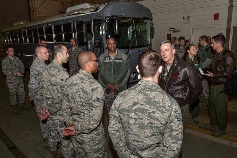 U.S. Air Force Gen. Terrence J. O'Shaughnessy, Pacific Air Forces (PACAF) commander, right, and Chief Master Sgt. Anthony Johnson, PACAF command chief, center, interact with Airmen assigned to the 773rd Logistics Readiness Squadron at the Joint Readiness Complex on Joint Base Elmendorf-Richardson, Alaska, as they toured the base, Feb. 7, 2017. O'Shaughnessy also held an all-call to speak to Airmen about several topics including leadership philosophies, command priorities, and what Airmen can expect from him as well as what he expects from Airmen.