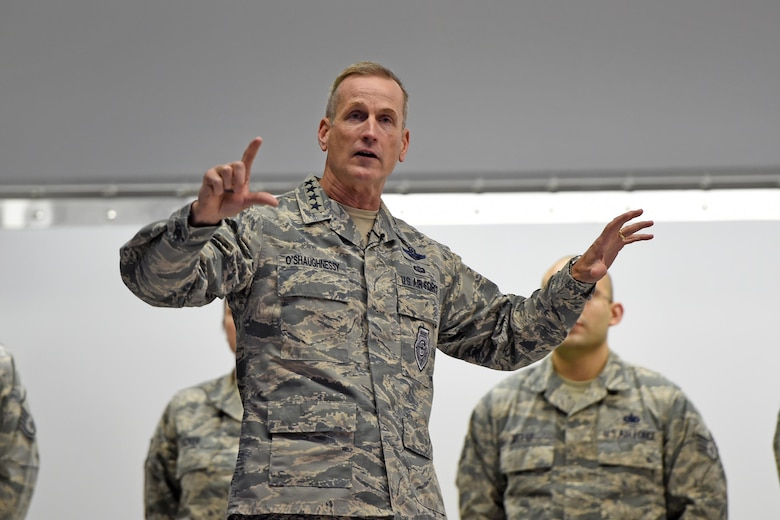 U.S. Air Force Gen. Terrence J. O'Shaughnessy, Pacific Air Forces commander, speaks with Airmen during an all-call, at Joint Base Elmendorf- Richardson, Alaska, Feb. 7, 2017. During the all-call, O'Shaughnessy spoke to Airmen about several topics including leadership philosophies, command priorities, and what Airmen can expect from him as well as what he expects from them.