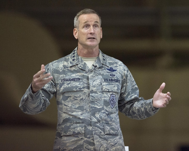 U.S. Air Force Gen. Terrence J. O'Shaughnessy, Pacific Air Forces commander, speaks with Airmen during an all-call at Joint Base Elmendorf-Richardson, Alaska, Feb. 7, 2017. During the all-call, O'Shaughnessy spoke to Airmen about several topics including leadership philosophies, command priorities, and what Airmen can expect from him as well as what he expects from them.