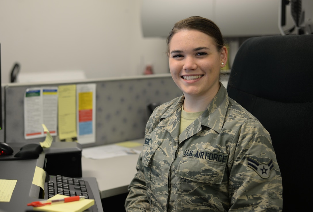 Airman 1st Class Riley M. Wade, 9th Communications Squadron knowledge operations apprentice, poses for a photo Feb. 7, 2017, at Beale Air Force Base, Calif. (U.S. Air Force photo/Airman 1st Class Aubrey Barringer)