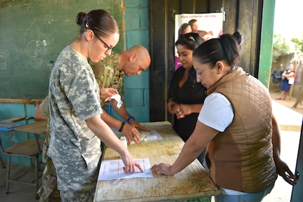 U.S. Army Sgt. 1st Class Aaron Pry (far left) and Specialist Lacie Thompson (front left), Joint Task Force-Bravo Medical Element, check prescriptions prior to handing out medication to patients, with support from two Honduran volunteer interpreters during a Medical Readiness Training Exercise in Estancia, La Paz, Feb. 1st, 2017.   MEDRETEs take place throughout Central America and provide services such as immunizations, preventive medicine, dental services, basic medical care and pharmacy services. (U.S. Army photo by Maria Pinel)