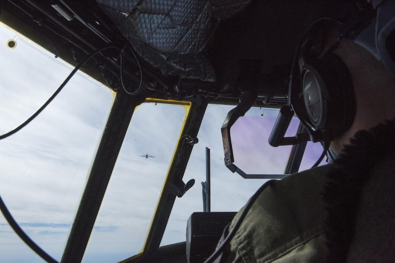 A pilot with Marine Aerial Refueler Squadron (VMGR) 352, 3rd Marine Aircraft Wing, stationed aboard Marine Corps Air Station Miramar, flies an aerial refuel mission in support of exercise Wing Fury, over the Pacific Ocean near Southern California, Feb. 3. VMGR-352 is able to conduct a wide variety of mission sets to support both ground and aviation operations including providing humanitarian assistance following a disaster. (U.S. Marine Corps photo by Lance Cpl. Liah Kitchen/Released)