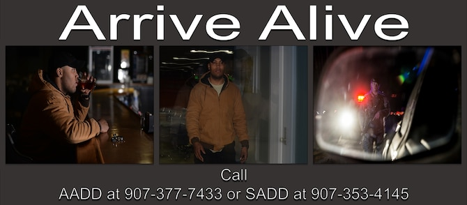 If your plans of having a safe ride fall through, contact AADD at 907-377-RIDE (7433) or SADD at 907-353-4145. (U.S. Air Force photo illustration by Airman Eric M. Fisher)