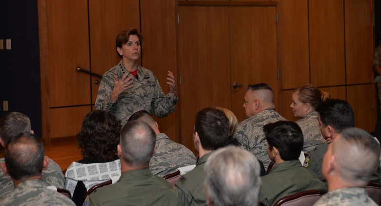 Gen. Lori Robinson, Commander, North American Aerospace Defense Command and United States Northern Command, makes a point to members of the Continental U.S. NORAD Region-1st Air Force (Air Forces Northern) enterprise at her commander's call here Feb. 10. Robinson visited CONR-1st AF (AFNORTH) Feb. 9-10 to talk with the organization's members about her priorities and to also express her deep appreciation for their professionalism and unwavering commitment to the CONR-1st AF (AFNORTH) mission. (Photo by Maj. Andrew Scott)