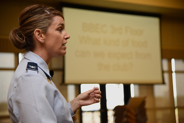 Col. Michele Edmondson, 81st Training Wing commander, speaks during a live multimedia broadcast system demonstration at the Bay Breeze Event Center Feb. 6, 2017, on Keesler Air Force Base, Miss. The conferencing system provides a way for someone at the BBEC to communicate to five locations on base via a livestream. (U.S. Air Force photo by Kemberly Groue)