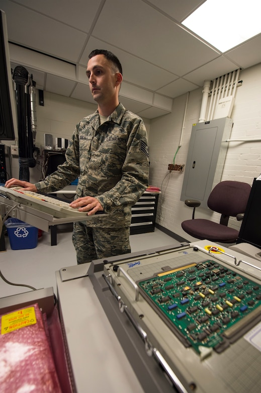 Tech. Sgt. Dustin Isbell, Air Force Nuclear Weapons Center Electronic Laboratory NCO in charge, performs a circuit test on a Minuteman III power processer circuit board at F.E. Warren Air Force Base, Wyo., Feb. 1, 2017. The circuit test ensures the board is in good working order before it is placed back into the missile system. The Infrastructure and Equipment Division ensures that facility and infrastructure requirements are in place to support the intercontinental ballistic missile systems across every missile complex.  (U.S. Air Force photo by Staff Sgt. Christopher Ruano)