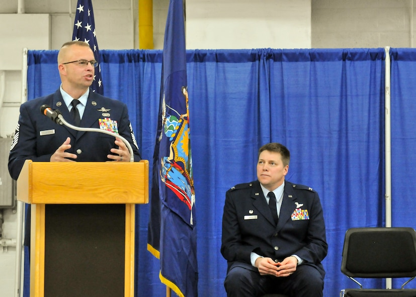 Command Chief Master Sergeant Michael Will, addresses friends, family and members of Hancock Field during his Change of Authority ceremony here Feb. 11, 2017. Will became the fifth Command Chief for the Attack Wing. (U.S. Air National Guard Photo by Staff Sgt. Duane Morgan)