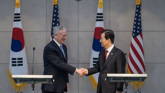 US Defense Secretary James Mattis shakes hands with his South Korean counterpart Han Min-Koo at the Defense Ministry in Seoul on February 3, 2017.