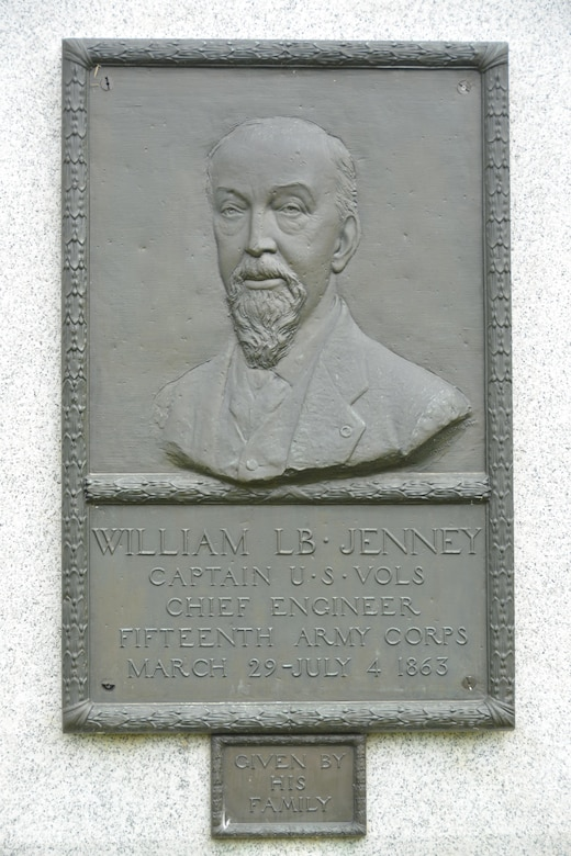 """Capt. William Le Baron Jenney was given the task to shorten the Union supply line as Grant's soldiers pushed deep into Mississippi. This relief portrait in Vicksburg National Military Park honors the chief engineer of the XV Corps. Jenney went on to become a world-famous architect and is considered """"father of the modern skyscraper."""""""