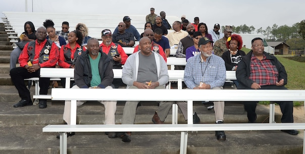 Active-duty, civilian personnel and community guests fill Marine Corps Logistics Base Albany's Boyett Park Amphitheater, to attend the installation's 2017 Black History Program, Feb. 8. Keynote speaker for the annual celebration, retired Marine, Maj. Gen. Cornell Wilson Jr., secretary, Department of Military and Veteran Affairs, State of North Carolina, recapped historical moments in commemoration of the 150-year legacy of the Buffalo Soldiers of the U.S. Calvary's 9th and 10th Regiments.