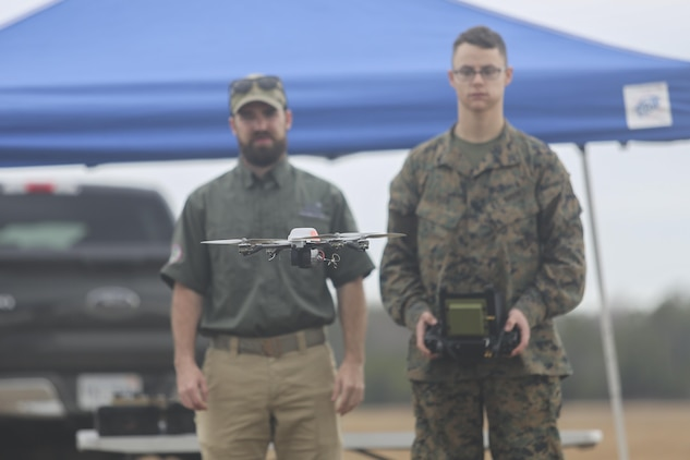 A Marine with Task Force Southwest flies the Instant Eye small unmanned aerial system at Camp Lejeune, N.C., Feb. 8, 2016. The Instant Eye is the first drone in the Marine Corps' repertoire that can launch and land without a runway or manpower assistance. Approximately 300 Marines are assigned to Task Force Southwest, whose mission will be to train, advise and assist the Afghan National Army 215th Corps and 505th Zone National Police. (U.S. Marine Corps photo by Sgt. Lucas Hopkins)