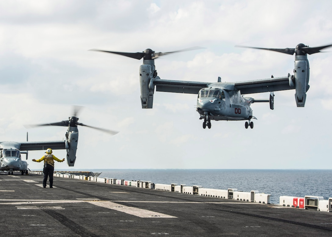 GULF OF ADEN (Feb. 12, 2017) An MV-22B Osprey, assigned to Marine Medium Tiltrotor Squadron (VMM) 163 (Reinforced), approaches the flight deck of the amphibious assault ship USS Makin Island (LHD 8). Makin Island is deployed in the U.S. 5th Fleet area of operations in support of maritime security operations designed to reassure allies and partners, and preserve the freedom of navigation and the free flow of commerce in the region. (U.S. Navy photo by Mass Communication Specialist 3rd Class Devin M. Langer)