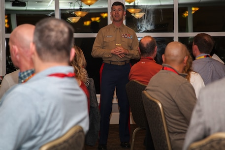 Colonel Jeffrey C. Smitherman, commanding officer of 6th Marine Corps District, welcomes the attendees of Recruiting Station Montgomery/Nashville Educators Workshop aboard Marine Corps Recruit Depot Parris Island, South Carolina, Feb. 7, 2017. The Educators come from both Recruiting Station Montgomery and Nashville to experience the Educators Workshop. The Educators Workshop provides an opportunity to educators to have an inside look at Marine Corps training to better inform the students in their local area. (U.S. Marine Corps photo by Lance Cpl. Jack A. E. Rigsby/Released)