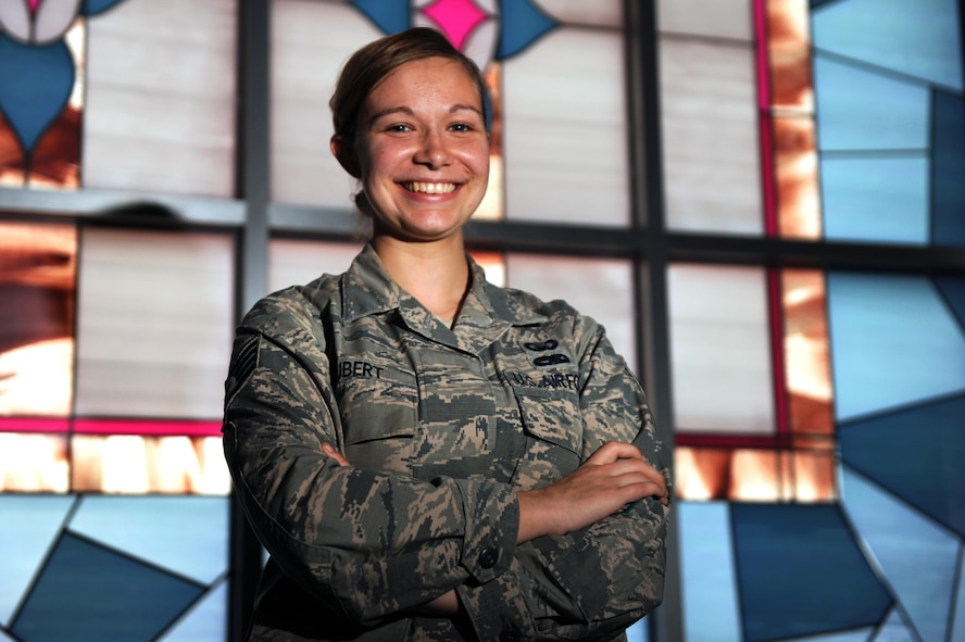 U.S. Air Force Staff Sgt. Sarah Hubert, 19th Airlift Wing chaplain assistant, provides support for religious observances. Hubert also serves as a neutral representative for service members. Hubert chose her job because she wanted to connect with Airmen and their families. (U.S. Air Force photo by Airman 1st Class Grace Nichols)