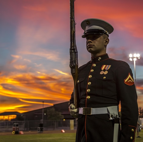 "Lance Cpl. Joshua Newton, U.S. Marine Corps Silent Drill Platoon, practices precision drill movements during a portion of their month-long training phase as a part of the Marine Corps Battle Color Detachment aboard Marine Corps Air Station Yuma, Az., Feb. 8, 2017. The BCD is comprised of the U.S. Marine Corps Silent Drill Platoon, ""The Commandant's Own,"" the U.S. Marine Drum & Bugle Corps and the U.S. Marine Corps Color Guard. This highly skilled unit travels across the country to demonstrate the discipline, professionalism, and ""Esprit de Corps"" of United States Marines. (Official Marine Corps photo by Cpl. Robert Knapp/Released)"