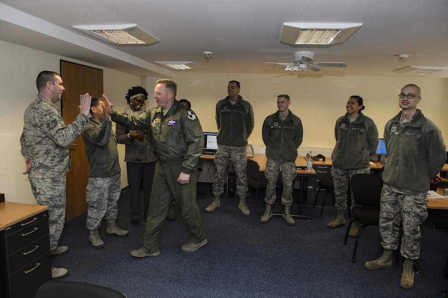 Col. Joe McFall, 52nd Fighter Wing commander, thanks all the tax center volunteers on the opening day at Spangdahlem Air Base, Germany, Feb. 13, 2017. All the volunteers are trained and certified by an Internal Revenue Service representative. (U.S. Air Force photo by Staff Sgt. Jonathan Snyder)
