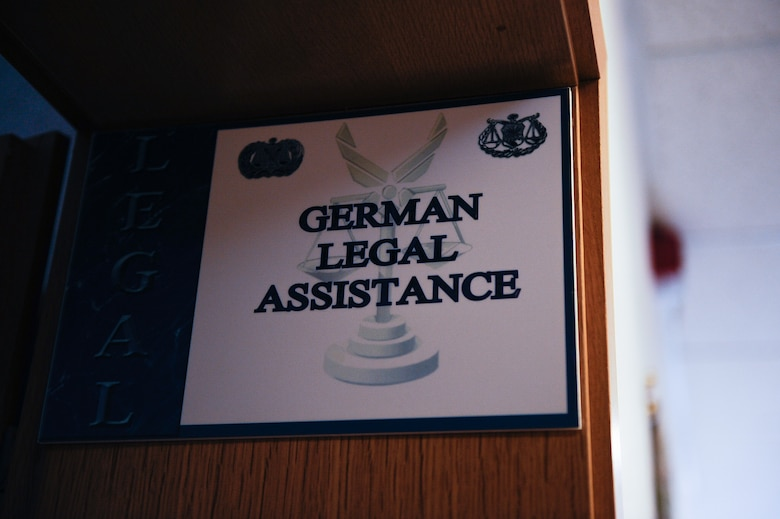 A German Legal Assistance sign is displayed at the 86th Airlift Wing Ramstein Law Center on Ramstein Air Base, Germany, Feb. 10, 2017. Aspiring entrepreneurs that wish to run a private business on base may consult the Vogelweh Housing Office or the base legal office to ensure they are in compliance with Air Force Instruction and regulations. (U.S. Air Force photo by Airman 1st Class Savannah L. Waters)